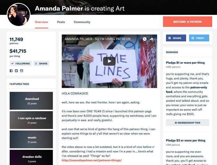 Amanda Palmer's Patreon Page