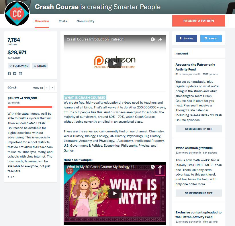 Crash Course's Patreon Page