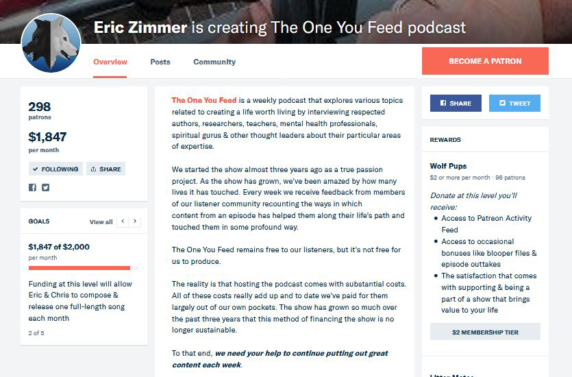 Eric Zimmer's The One You Feed Patreon Page