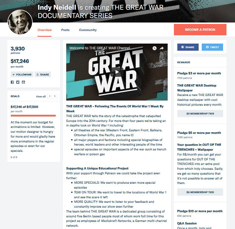 Indy Neidell's The Great War on Patreon