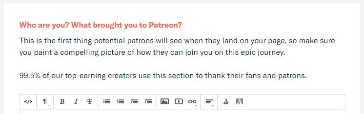 Patreon About Section Details