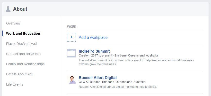 Facebook Profile Work Education